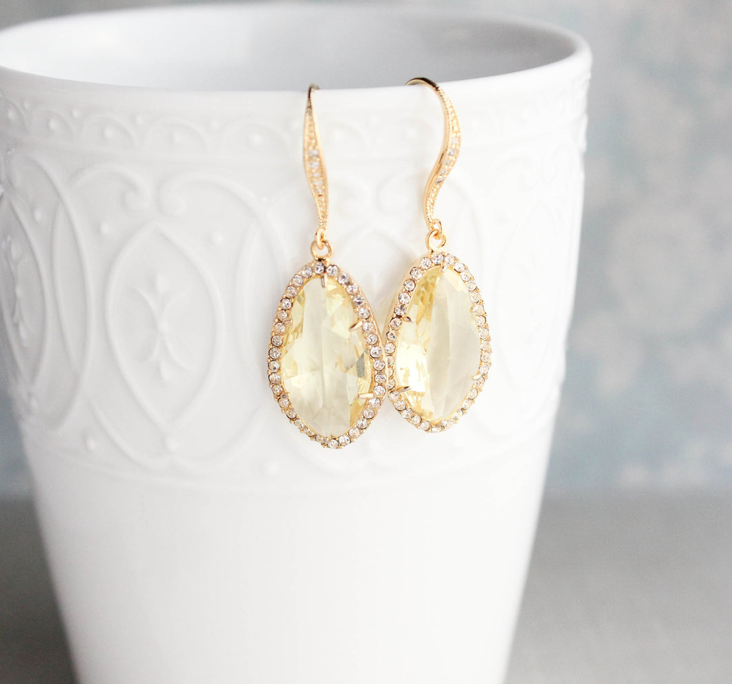 Sparkly Dangle Earrings - Yellow /Gold