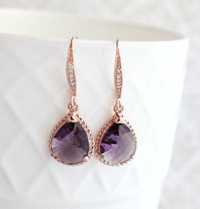 Sparkle Drop Earrings - Dark Purple