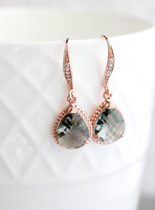 Sparkle Drop Earrings - Smoke Grey