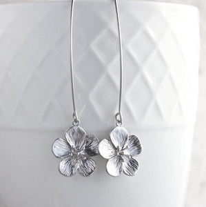 Cherry Blossom Earrings - Matte Silver Short