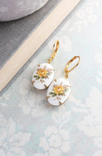 Load image into Gallery viewer, Yellow Rose Earrings - Glass Cameo