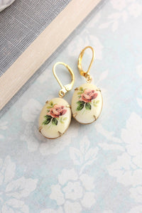 Red Rose Earrings - Glass Cameo