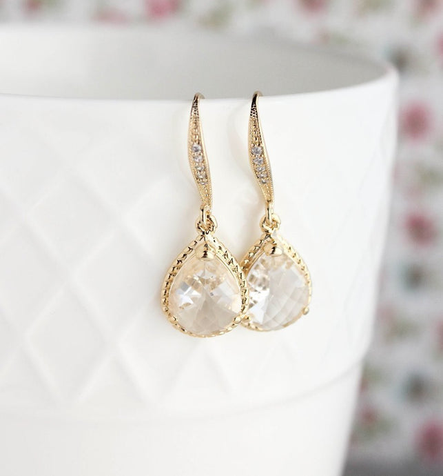 Sparkle Drop Earrings - Clear