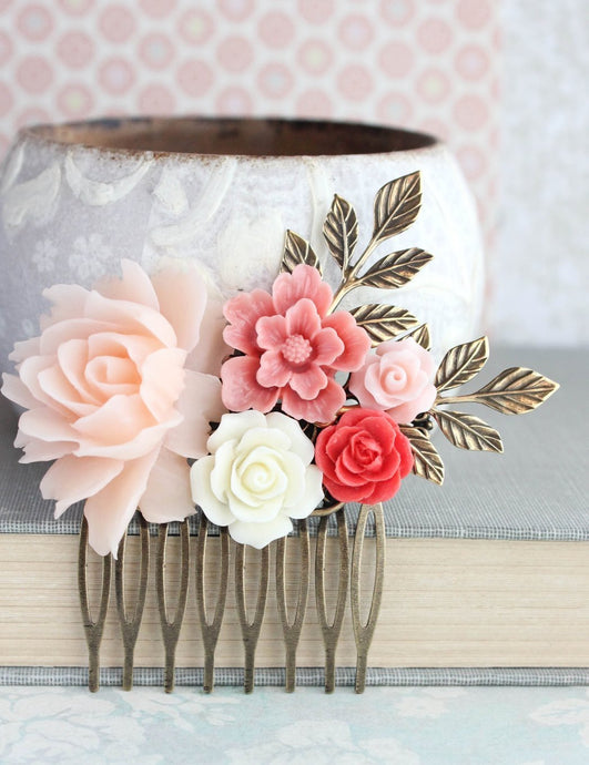 Blush and Coral Hair Comb - C1039