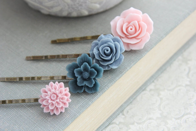 Pink and Navy Rose Bobby Pins - BP1213