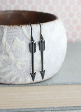 Load image into Gallery viewer, Black Arrow Earrings -  Small Dangles