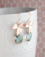 Load image into Gallery viewer, Rose Gold Orchid Earrings - Blue green
