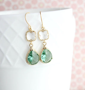Sparkle Drop Earrings Gold | Clear | Erinite