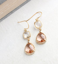 Load image into Gallery viewer, Sparkle Drop Earrings | Clear | Peach