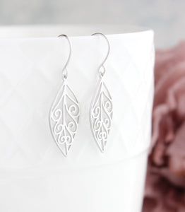 Filigree Leaf Earrings - Silver Rhodium