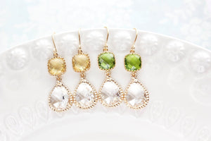 Sparkle Drop Earrings Gold | Clear | Yellow