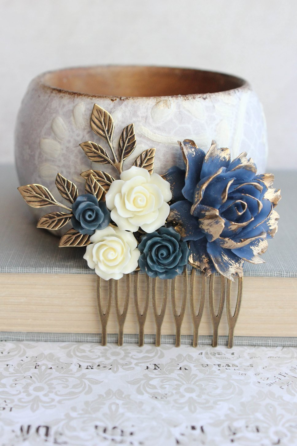 Navy and Gold Rose Comb - C1053