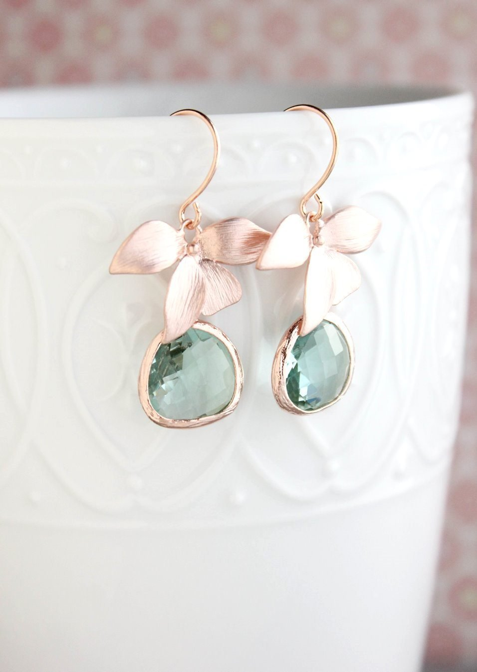 Rose Gold Orchid Earrings - Blue green