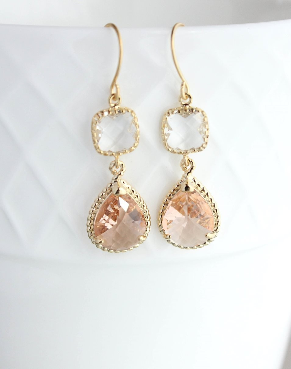 Sparkle Drop Earrings | Clear | Peach