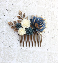 Load image into Gallery viewer, Navy and Gold Rose Comb - C1053