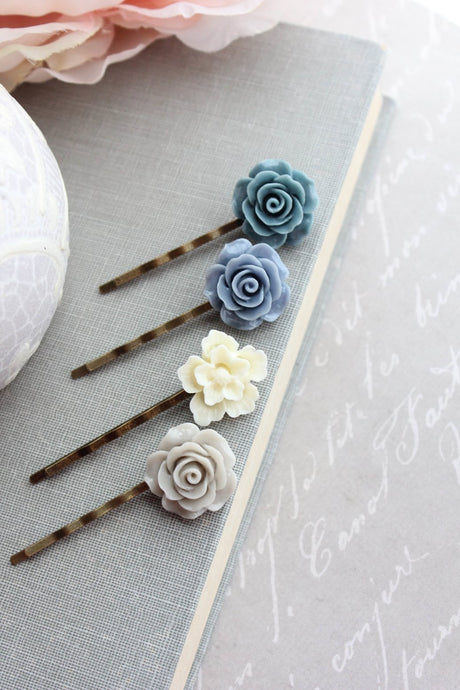 Blue Flower Bobby Pins - BP1002