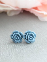Load image into Gallery viewer, Rose Studs - Dusty Blue