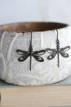 Load image into Gallery viewer, Dragonfly Earrings - Black Patina