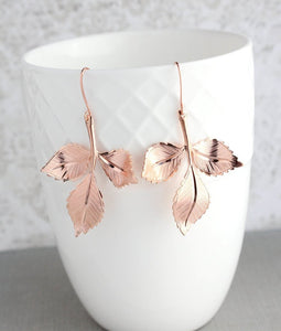 Three Leaf Branch Earrings - Rose Gold