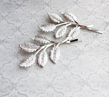 Load image into Gallery viewer, Branch Bobby Pins - Bright Silver Leaves (set of 2)