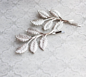 Branch Bobby Pins - Bright Silver Leaves (set of 2)