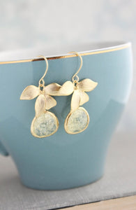 Gold Orchid Earrings - Yellow