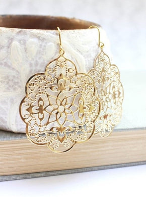 Lacy Filigree Earrings - Gold