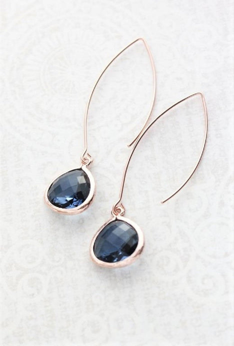 Long Rose Gold Earrings - Navy Blue