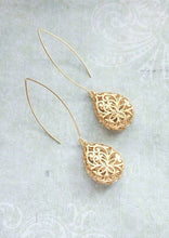 Load image into Gallery viewer, Long Filigree Teardrop Earrings
