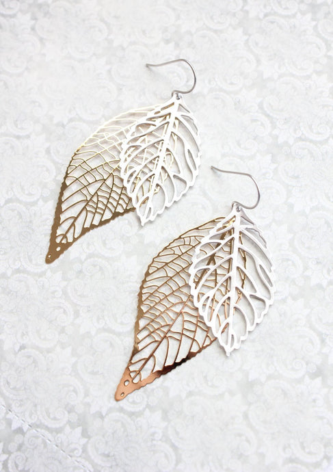 Double Leaf Filigree Earrings