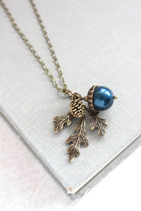 Acorn Necklace - Peacock Navy Blue