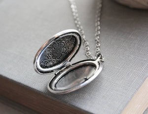 Oval Locket Necklace - Antiqued Silver