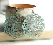 Load image into Gallery viewer, Big Lacy Filigree Earrings - Denim