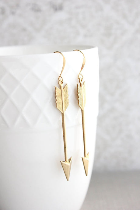 Gold Arrow Earrings - Long