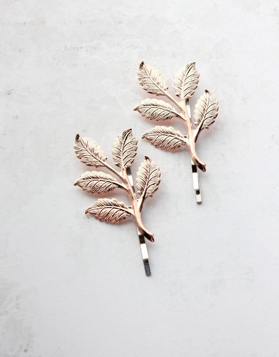 Branch Bobby Pins - Bright Rose Gold