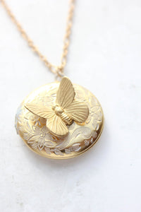 White Patina Butterfly Locket
