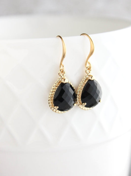 Black Glass Teardrop Earrings