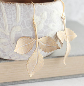 Three Leaf Branch Earrings - White Patina
