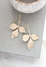 Load image into Gallery viewer, Three Leaf Branch Earrings - White Patina