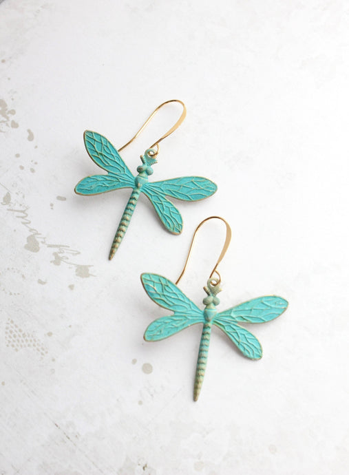 Dragonfly Earrings - Verdigris