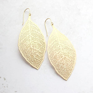 Big Leaf Earrings - matte silver rhodium