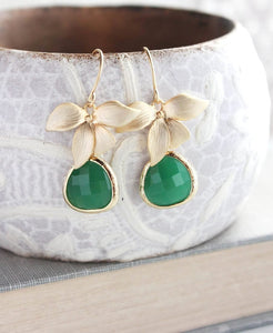 Gold Orchid Earrings - Jade Green