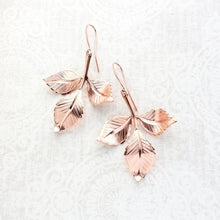 Load image into Gallery viewer, Three Leaf Branch Earrings - Rose Gold