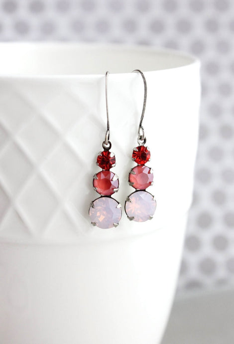 Three Jewel Earrings - Pink Opal