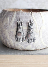 Load image into Gallery viewer, Rabbit Earrings - Antiqued Silver