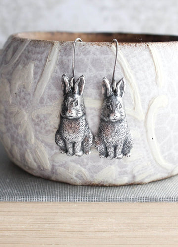 Rabbit Earrings - Antiqued Silver