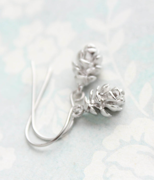 Silver Tree Cone Earrings