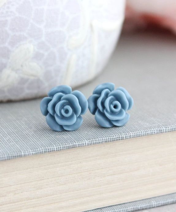 Rose Studs - Dusty Blue