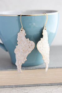 Shabby White Wing Earrings