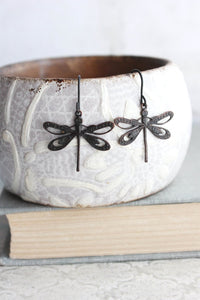 Dragonfly Earrings - Black Patina